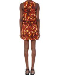 Wayne - Brown Fireprint Solaris Peplum Dress - Lyst
