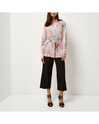River Island - Multicolor Pink Print Belted Shirt - Lyst