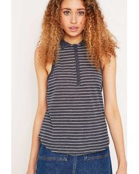 BDG | Striped For Life Blue Polo Tank Top | Lyst