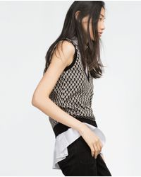 Zara | Black Micro-jacquard Waistcoat | Lyst