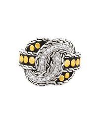 John Hardy | Metallic Diamond Pav Twist Knot Ring Size 7 | Lyst