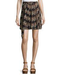 Étoile Isabel Marant - Black Sistle Printed Silk Tie-waist Mini Skirt - Lyst