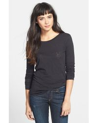 Rag & Bone | Black Long Sleeve Burnout Tee | Lyst