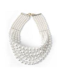 Fallon | White Layered Swarovski Choker Crystal Pearl | Lyst