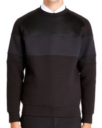 DKNY - Black Contrast Panel Rubber Logo Sweat Top for Men - Lyst