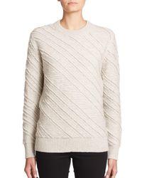 Proenza Schouler | Gray Fringe Wool Jacquard Sweater | Lyst
