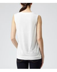 Reiss | White Kali Silk Front Sleeveless Top | Lyst