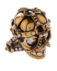 Alexander McQueen - Metallic Harness Skull Ring - Lyst
