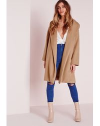 Missguided Long Wool Boyfriend Coat Camel in Brown | Lyst