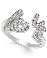 Macy's | Metallic Giani Bernini Pave Cubic Zirconia Love Ring In Silver-plated Brass | Lyst