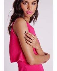 Missguided | Metallic Geometric Ring Pack Gold | Lyst