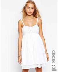 ASOS - White Sundress In Stripe Herringbone - Lyst