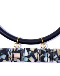 Lily Kamper - Black Feriss Square Shell Necklace - Lyst