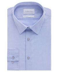 Calvin Klein - Platinum Slim-Fit Powder Blue Stripe Dress Shirt for Men - Lyst