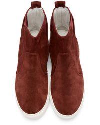 Lanvin | Purple Burgundy Suede Chelsea Sneakers for Men | Lyst