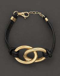 Faraone Mennella | Nodi 18k Yellow Gold and Black Leather Bracelet | Lyst