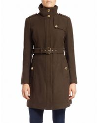 MICHAEL Michael Kors | Brown Buttoned-collar Belted Coat | Lyst