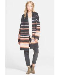 Free People - Gray Stripe Alpaca Blend Coat - Lyst