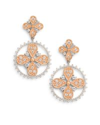 Freida Rothman | Metallic Forever Two-tone Double Flower Drop Earrings | Lyst