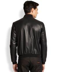 Armani - Black Leather Grid Bonded Jacket for Men - Lyst