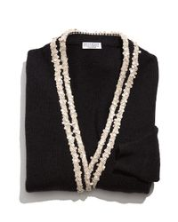 Brunello Cucinelli - Black Sequined 2-ply Cashmere Cardigan - Lyst