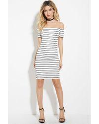 Lyst - Forever 21 Striped Off-the-shoulder Dress in Black 6be545763