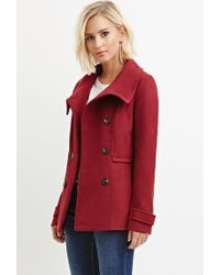 Forever 21 | Purple Button-front Peacoat | Lyst