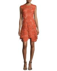 Catherine Deane - Red Cap-sleeve Lace Fit & Flare Dress - Lyst