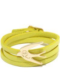McQ   Yellow Swallow Triple Wrap Bracelet   Lyst