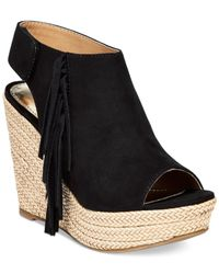 Report | Black Neko Western Fringe Platform Wedge Sandals | Lyst