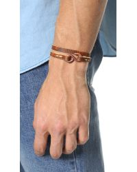 Cause and Effect | Brown Washed Leather Double Wrap Bracelet for Men | Lyst