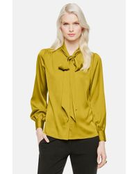 Vince Camuto | Green Bow Neck Blouse | Lyst