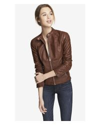 Express - Brown (Minus The) Leather Quilted Sleeve Jacket - Lyst