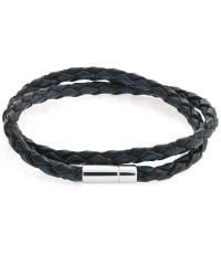 Tateossian | Blue Silver Pop Scoubidou Leather Bracelet | Lyst
