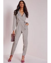 619986fc7d7 Lyst - Missguided Long Sleeve D Ring Jumpsuit Grey in Gray