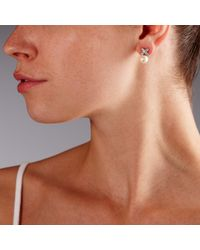 John Lewis - White Cross And Pearl Stud Earrings - Lyst