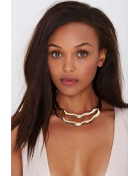 Nasty Gal | Metallic Do The Wave Collar Necklace | Lyst