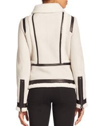 Vince - Black Shearling-trim Suede Moto Jacket - Lyst
