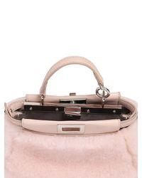 Fendi   Pink Micro Peekaboo Shearling Bag   Lyst
