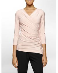 Calvin Klein - Pink White Label Solid Side Ruched High Low 3/4 Sleeve Top - Lyst