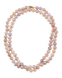 Belpearl | Metallic Pink Freshwater Long Pearl Necklace | Lyst