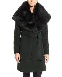 Elie Tahari | Green 'sandy' Genuine Toscana Shearling Collar Wool Blend Wrap Coat | Lyst