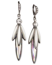 Givenchy | White Linear Hematite & Crystal Accent Earrings | Lyst