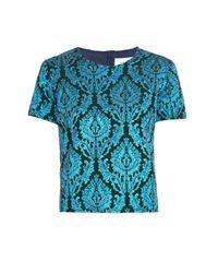 Marques'Almeida - Blue Floral Brocade Shortsleeved Top - Lyst