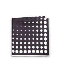 Kent & Curwen - Black Printed Silk Pocket Square for Men - Lyst