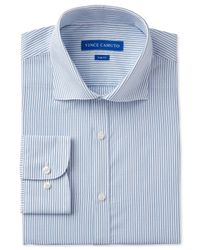 Vince Camuto | Blue Slim-fit Dobby Stripe Dress Shirt for Men | Lyst