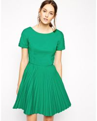Antipodium | Green Straight Edge Pleated Dress With Zip Back | Lyst
