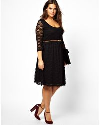 ASOS - Purple Exclusive Midi Dress In Lace With Belt - Lyst