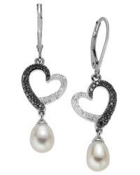 Macy's | Sterling Silver Earrings, Cultured Freshwater Pearl (6mm) And Black And White Diamond (1/3 Ct. T.w.) Heart Drop Earrings | Lyst