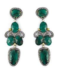 Gemco - Green Drop Emerald Chandelier Earrings - Lyst